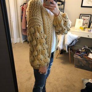 Tan/marigold bubble sleeve sweater - worn 1x